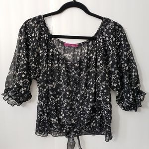 julie's closet Tops - Julie's Closet~Sheer Star Print Crop Top XL